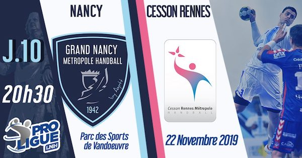 Nancy - Cesson Rennes le 22/11/2019 à 20h30